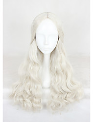 Medium Long Wave  White Queen Synthetic 24inch Anime Cosplay Wigs CS-319A