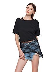 Feminino Camiseta Para Noite Praia Férias Simples Moda de Rua Primavera Verão,Sólido Algodão Decote Redondo Manga Curta Transparente Fina