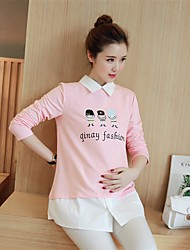 Знак материнства весной 2017 моды беременных женщин в длинном разделе сыпучих с длинными рукавами футболки рубашку