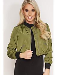 Aliexpress nuevo color sólido chaqueta de la capa corta de la manera europea y americana