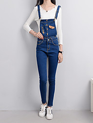 Really making new denim trousers feet female students straps stretch pants Slim detachable strap tide