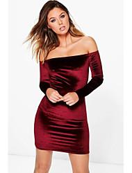 Chemise Robe Femme Sortie Décontracté / Quotidien Sophistiqué,Couleur Pleine Epaules Dénudées Au dessus du genou Manches LonguesFibre de