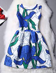 Feminino Solto Vestido,Casual Vintage Geométrica Decote Redondo Acima do Joelho Manga Curta Algodão Primavera Cintura Alta Micro-Elástica