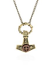 Thors Hammer Gear Steampunk Necklace Vintage Gothic Jewelry-Bronze