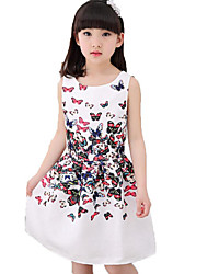 Girl's Beach Solid Floral Dress,Cotton Polyester Summer Spring Sleeveless
