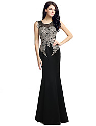 Formal Evening Dress Trumpet / Mermaid Jewel Floor-length Jersey with Embroidery