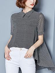 Women's Casual/Daily Street chic Summer Fashion Blouse Striped Shirt Collar Asymmetric Short Sleeve Polyester Thin