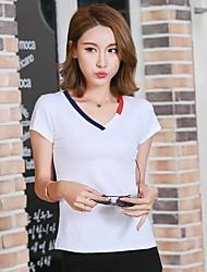 weiblicher Kurzarm-T-Shirt des Sommer neuer mitfühlend dünner koreanische Kurzhülse V-Neck T-Shirt weiblich Nähte Zustrom von Frauen
