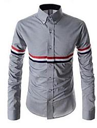 Men's Fashion Mixed Colors Ribbon Casual Long-Sleeved Shirt