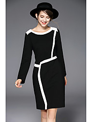 Women's Casual/Daily Simple Sheath Dress,Color Block Round Neck Knee-length Long Sleeve Polyester Spring Summer Mid Rise Micro-elastic