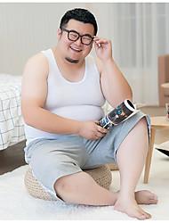 Hombre Simple Casual/Diario Tank Tops,Escote Redondo Un Color Sin Mangas Algodón