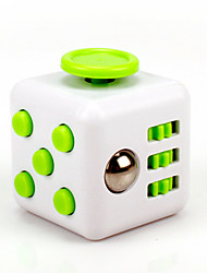 Anxiety Reliever Fidget Dice Cubic Cube Fidget Toys for Focusing / Stress Relieving ABS --White &  Green
