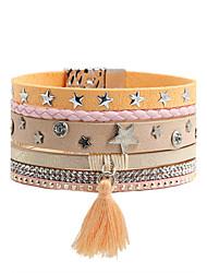 Leather Bracelet Alloy Leather Rhinestone Simulated Diamond Fashion Bohemia Star Orange Jewelry 1pc