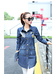 Women's Going out Simple Spring Denim Jacket,Solid Notch Lapel Long Sleeve Long Others