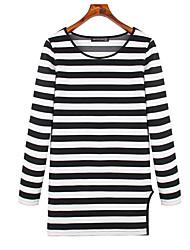 la station europe nouvelles femmes de grande taille&# 39; rayé à manches longues T-shirt en coton mince Chemise version coréenne