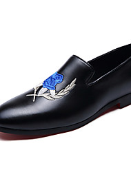 Men's Leather Oxfords Spring Fall Comfort Weeding Party & Evening Casual Flat Heel Hook & Loop Lace-up Black Blue Other