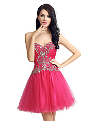 Cocktail Party Dress Ball Gown Sweetheart Short / Mini Tulle with Beading