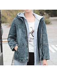 Sign 2017 spring new Korean version of the personalized embroidery was thin loose denim jacket women short paragraph hooded jacket