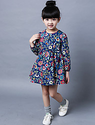Girl's Casual/Daily Floral Dress,Cotton Fall Half Sleeve