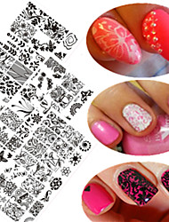 10pcs / set prego novo doce rendas carimbar placa colorida imagem de design de moda DIY carimbo stencils manicure bc11-20 beleza