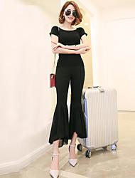 Signe 2017 printemps et été élastique taille pantalon jambe large neuf points flouté en mousseline de soie couture grande cloche-fonds