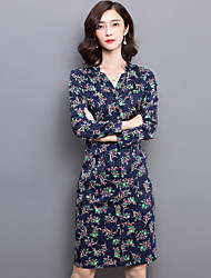 Signer un nouveau style haut de gamme robe florale v-cou manches longues robe automne korean slim