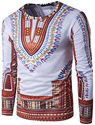 Men's Sports Casual/Daily Boho Street chic T-shirt,Geometric Print Round Neck Long Sleeve Polyester