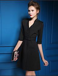 2016 в начале осени новые женщины&# 39, S европейский и американский большой ретро платье тонкий пятый рукав v-образным вырезом платье