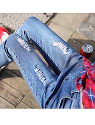 Sign loose jeans female Korean version of the new Slim thin frayed jeans nine points pants feet wild