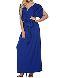HOT! M-4XL Plus Size Women's Going out Casual/Daily Sexy Sheath DressSolid V Neck Maxi Short Sleeve Polyester Summer