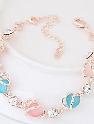 Chain Bracelet Alloy Rhinestone Heart Fashion Women's Jewelry 1pc