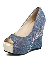 Heels Spring Summer Fall Club Shoes PU Glitter Wedding Office & Career Dress Wedge Heel