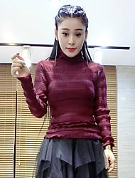 2016 europeia perna de manga comprida turtleneck suéter selvagem bottoming camisa rugas vinho tinto sinal