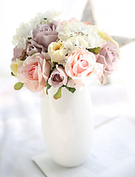 1 Une succursale Polyester Plastique Roses Fleur de Table Fleurs artificielles 18