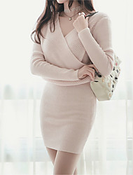 2017 Korean version of the new autumn fashion sweater skirt Slim was thin V-neck long-sleeved knit dress