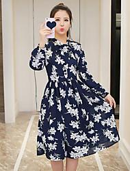 Signer des femmes&N ° 2017 printemps nouvelle parapluie romantique impression robe de taille swing robe mode sauvage