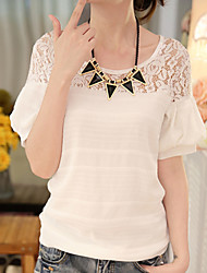 Really making short-sleeved chiffon shirt female Korean version of spring and summer new round neck thread empty lace shirt lantern sleeve shirt tide