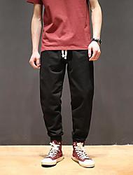 Masculino Simples Moda de Rua Cintura Média Com Elástico Chinos Calças,Solto Cor Única