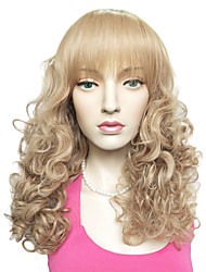 Beige Blonde Wig Synthetic Fiber Women Kinky Curly Cosplay  Costume Curly Hairstyle