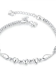 Elegant Silver Plated Heart and Wing Design Chain & Link Bracelets Jewellery for Women Accessiories