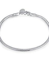 Silver Plated 3mm Wide Snake Chain & Link Bracelets Christmas Gifts Jewellery for Women Accessiories