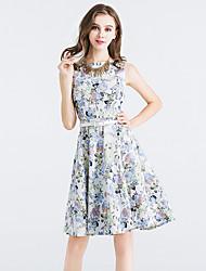 Sign aliexpress novo european and american algodão colete peony impressão retro big swing vestido com cinto