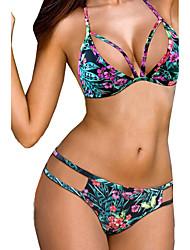 Women's Halter Bikini,Lace Up Plunging Neckline Floral Polyester