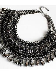 Mulheres Colares com Pendentes Colares Declaração Imitação de Diamante Gema Moda Euramerican Fractius / Black Jóias ParaFesta Ocasião