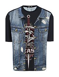 Sommer 2017 Männer&# 39; s kurz-sleeved T-Shirt kreative 3d drucken gefälschte Schwerter Schädel Persönlichkeit Denim Jacke