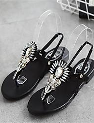 Sandalen Sommer PU Outdoor Casual Flat Ferse Perlen