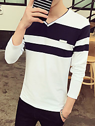 -P32 Round neck long-sleeved suit spell color printing influx of male long-sleeved T-shirt more than coffee