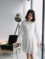 Modèle réel coup 2017 printemps nouvelle jupe en dentelle femme collège vent sauvage manches longues robe