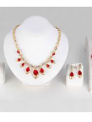 Set de Bijoux Bracelets Rigides Collier court /Ras-du-cou Cristal Géométrique Cristal Forme de Coeur Rouge1 Collier 1 Paire de Boucles