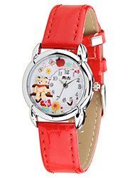 Kids' Fashion Watch Japanese Quartz / Leather Band Casual Red Rose Red Fuchsia